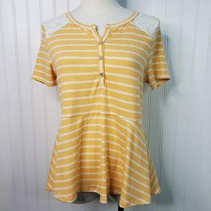 12PM By Mon Ami Striped Lace Peplum Shirt